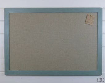 Extra Large Pinboard / Noticeboard with rustic linen backing and Aged duck egg blue chalk frame