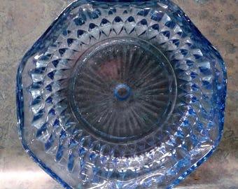 "Indiana Glass Diamond Point Regal Blue 5 1/2"" Round Bowl"