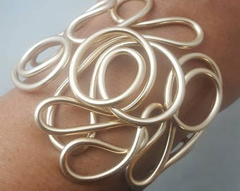 Wire Cuff Bracelet, Wire Bracelet, Wrapped Wire Bracelet, Abstract Wire Bracelet, Wrapped Wire Cuff