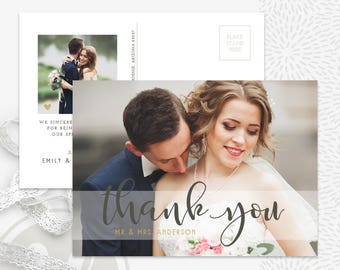 Wedding Thank You Card Template - Wedding Thank You Postcard Template, Wedding Thank You Template, Instant Download, Photoshop Template