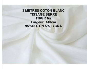 3 m white cotton 5% Lycra width 140 CM weaving 1st choice tight locker 21B