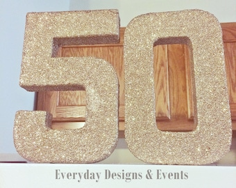 50th Birthday, 50th Birthday gift, 50th anniversary, gift, 50th birthday decoration,  Glitter Letters, 50, 50th Birthday party decorations