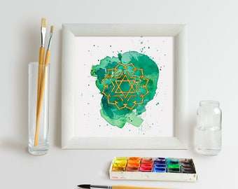 Heart Chakra Watercolour Painting 8x8 inch