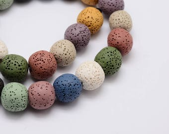 Set of 5 Lava Stones, Round, Mixed Colors