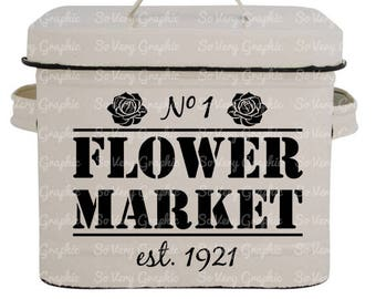 Flower Market | Vintage Farmhouse Sign | SVG Cutting File for Cricut / Silhouette | Fall | Autumn | Back to School | Farm