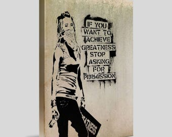 Asking for Permission Banksy Framed Canvas Wall Art A4 - A3 - A2 - A1