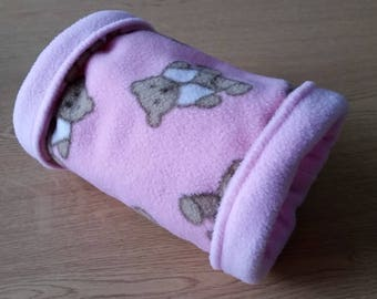 READY TO SHIP! Pink Teddy Bear Fleece Tunnel for Hedgehogs/Rats/Guinea Pigs