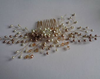 Gold and ivory glass pearl and crystal spray hair comb wedding bridal mother of the bride formal