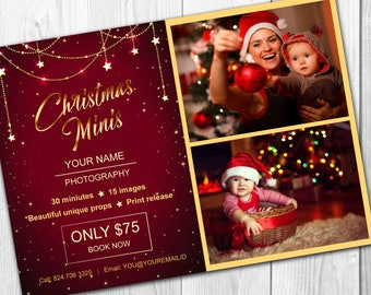 Christmas mini session template - Christmas minis - Photography marketing board - INSTANT DOWNLOAD