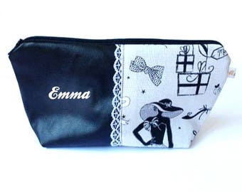 Personalised make up bag, Zippered Pouch, Name Pouch,Cosmetic Pouch, gift for her, personalised gift, lace, paris