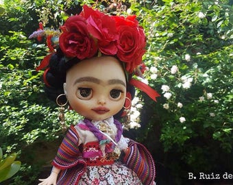 Custom Blythe Dolls For Sale by OOAK custom Blythe Frida Kahlo