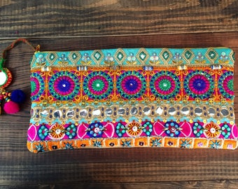 Bohemian Embellished Clutch. Beaded Handbag.