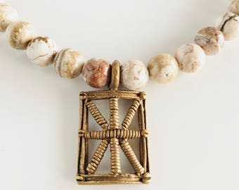 Africa Inspired Agate Gemstone and Brass Statement Necklace