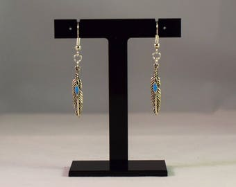 Indian Blue Feather Earrings