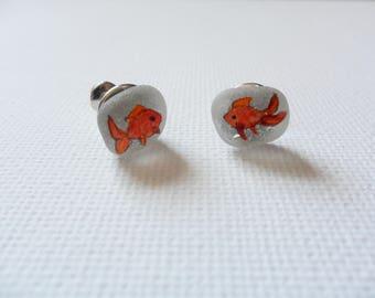 Goldfish hand painted stud earrings - Painted on english Sea glass