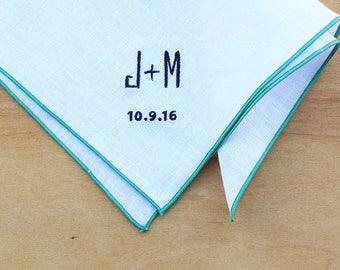 "Monogrammed Pocket Square, Personalized Pocket Square, Wedding Handkerchiefs, Bride and Groom Handkerchief, Men's Handkerchief, Plus , 12"""