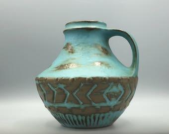 Carstens Tönnieshof   42 - 15  mat aqua blue / bronze color glaze  Vintage Collectors vase  Mid Century Modern 1960s / 1970s  West Germany.