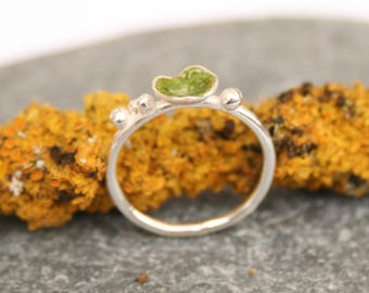 Silver rings, enamel ring, domed ring, lichen ring, nature ring, green ring, stackable ring,