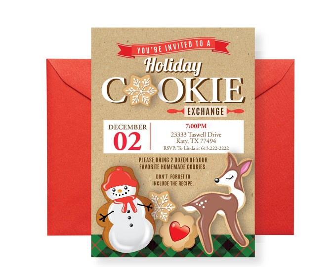Holiday Cookie Party Invitation, Cookie Exchange, Cookie Swap, Cookie Decorating Party, Christmas Printable Invitation