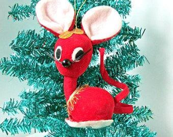 Vintage Velveteen Christmas Mouse Ornament Mid Century Modern Japan