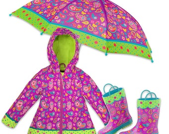 3 Pieces Set Stephen Joseph Paisley Rain Gear, Umbrella, Rain Coat and Rain Boots.