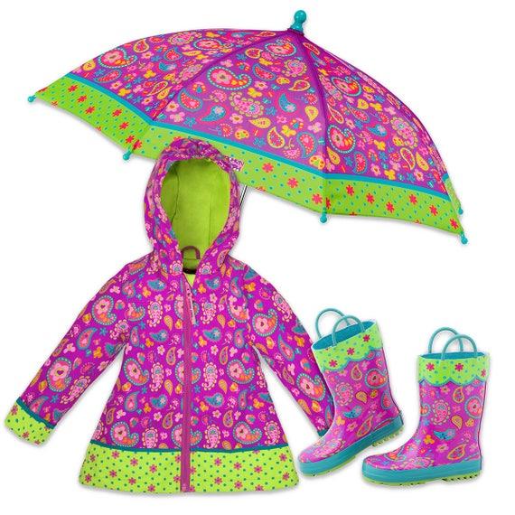 3 Pieces Set Stephen Joseph Paisley Rain Gear, Umbrella, Rain Coat and Rain Boots.