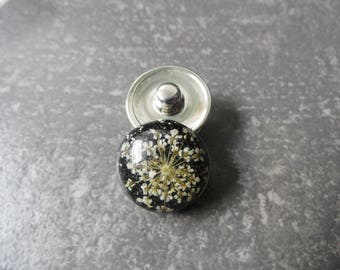 Resin flower snap button dried amid sequin round 18 mm for custom creations