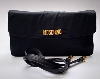 Sale! MOSCHINO by Redwall Black Shoulder bag / Clutch. Italian Designer purse.