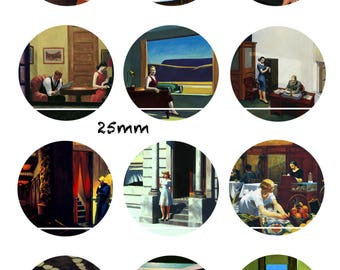 Edward Hopper 12 Images/designs/collage digital 30/25/20/18/16/15/14/12/10/8 mm cabochon round/square/oval