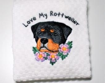 """Rottweiler Gift, Rottweiler Decor, Rottweiler Towel, Dish Towel, Rottweiler Owner Gift, Rottweiler Lover Gift, Kitchen Towel  """"Guardian"""""""