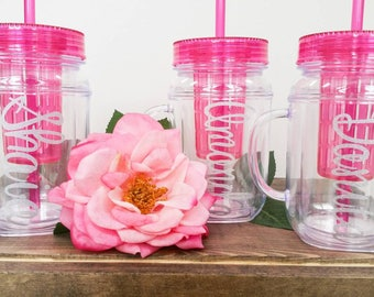 Clear Plastic tumblers with lid and straw.  Bridal party. Gift. Wedding. Customize. Mason jar