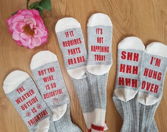Super cozy funny personalized socks. If you can read this...