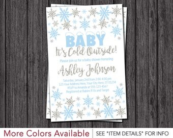 Baby It's Cold Outside Baby Shower Invitation | Baby Blue and Silver
