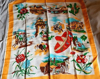 ON SALE: Vintage Scarf - Mexican Souvenir Scarf, Rayon, Bullfighters, Tijuana