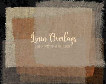 Linen Overlays, linen texture clipart, digital photography overlays, jute cloth digital paper, burlap textures, torn edges digital download