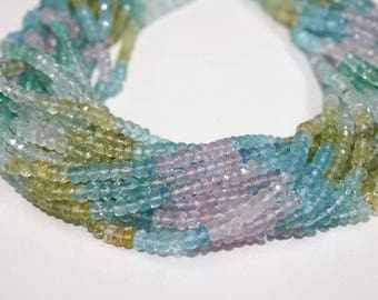 Natural Multi Aquamarine Faceted Rondelle Beads , Aquamarine Rondelle Beads , AAA super finest natural aquamarine Beads 3mm-3.50mm