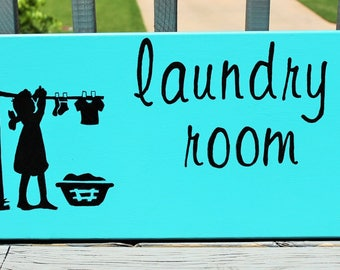 Laundry Room Silhouette Painted Sign