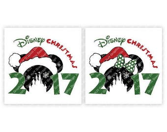 Disney, Christmas, 2017, Santa, Castle, Snowflake, Mickey, Minnie, Head, Ears, Digital, Download, TShirt, Cut File, SVG, Iron on, Transfer