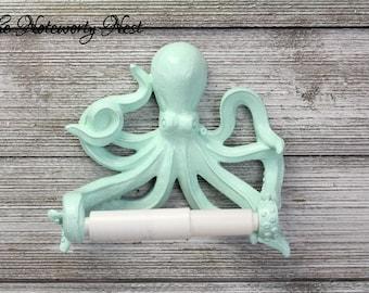 CUSTOM COLORS Octopus Toilet Paper Holder // bathroom decor / nautical decor / nautical bathroom / sea theme bathroom / lime green Octopus