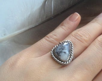 Black Frost Dendritic Opal Statement Ring || size 5 3/4, clarity, balance, harmony