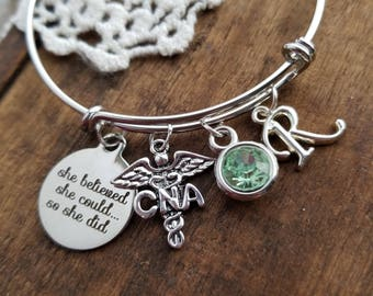 Cna graduation Gift, CNA gifts, cna charm bracelet, birthstone bracelet, silver initial bracelet, she believed she could so she CNA bracelet