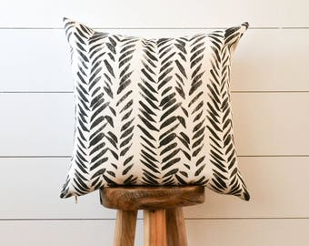 Black and White Brush Stroke Pillow Cover, Painterly Pillow, Botanical Pillow Cover, Herringbone Pillow Cover, Leaf Decorative Pillow