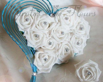 Bridal bouquet and boutonniere heart aluminium roses and beads to customize