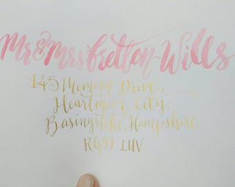 Custom Blush Watercolour and Gold Calligraphy, Rose Gold Lined, White Envelopes + 5 extra !