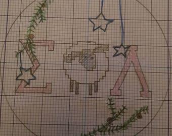 Sigma Phi Lambda Cross Stitch Christmas Ornament