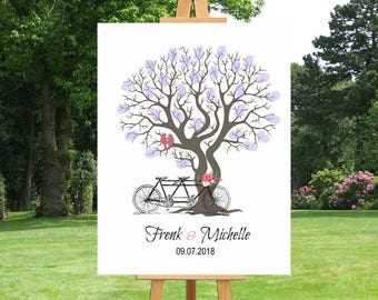 Tandem Bicycle Wedding Thumbprint Tree Guest Book | Fingerprint Tree | Gift For Couple | Anniversary | Family Tree | Custom Canvas - 41677
