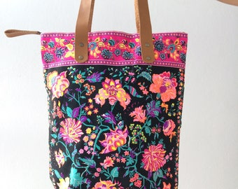 Black flower Beach Tote Bag for Bridesmaid Gift