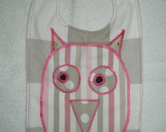 Bavoir004 - Beige and white Plaid bib and her OWL