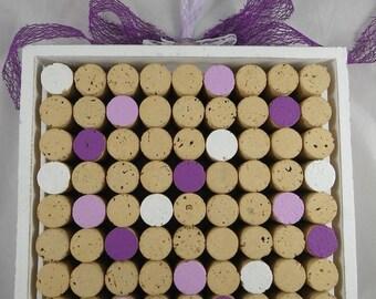 Tableau019 - Purple and white decorative Cork Board