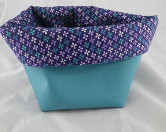 Corbeille010 - Turquoise and purple pattern basket flowers
